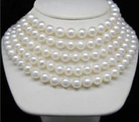 shipping>>>>BEAUTIFUL 100 9 10MM AKOYA AAA NATURAL WHITE PEARL NECKLACE 14KGP GOLD CLASP
