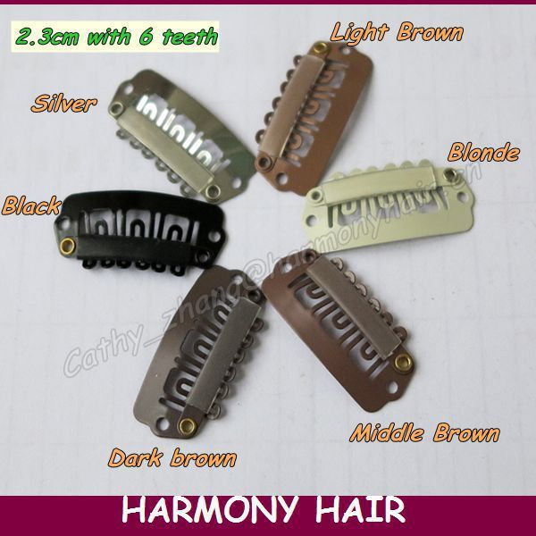Free shipping!! 100 pieces/bag 2.3cm 6 teeth U shape and 7 teeth I shape metal snap hair clips 6 colors for your choinces
