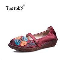Tastabo Цветочный принт обувь на плоской подошве Лоферы женские Однотонная повседневная обувь Обувь Мягкая ручной горох женщин натуральная кожа ботинки на плоской подошве