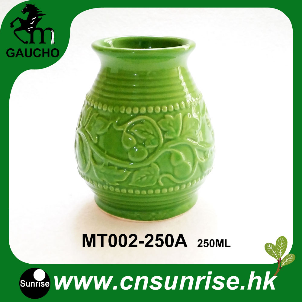 120pcs/lot Paraguay Ceramic Mate Cups Yerba Mate Calabash Gourds With Emboss Calabash Pattern Drinkware Hot Sale MT002 250A-in Teacups from Home & Garden    1