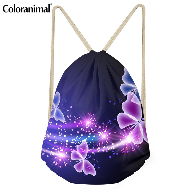 Coloranimal Vivid 3D Retro Butterfly Print Women Fashion Sack Bag Drawstring Bag Student Mochia Casual Backpack String Satchel