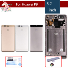 10pcs/ For Huawei P9 EVA-L09 EVA-L19 EVA-AL00 Housing Battery Cover Door Rear Chassis Frame Back+Fingerprint Sensor Flex Cable