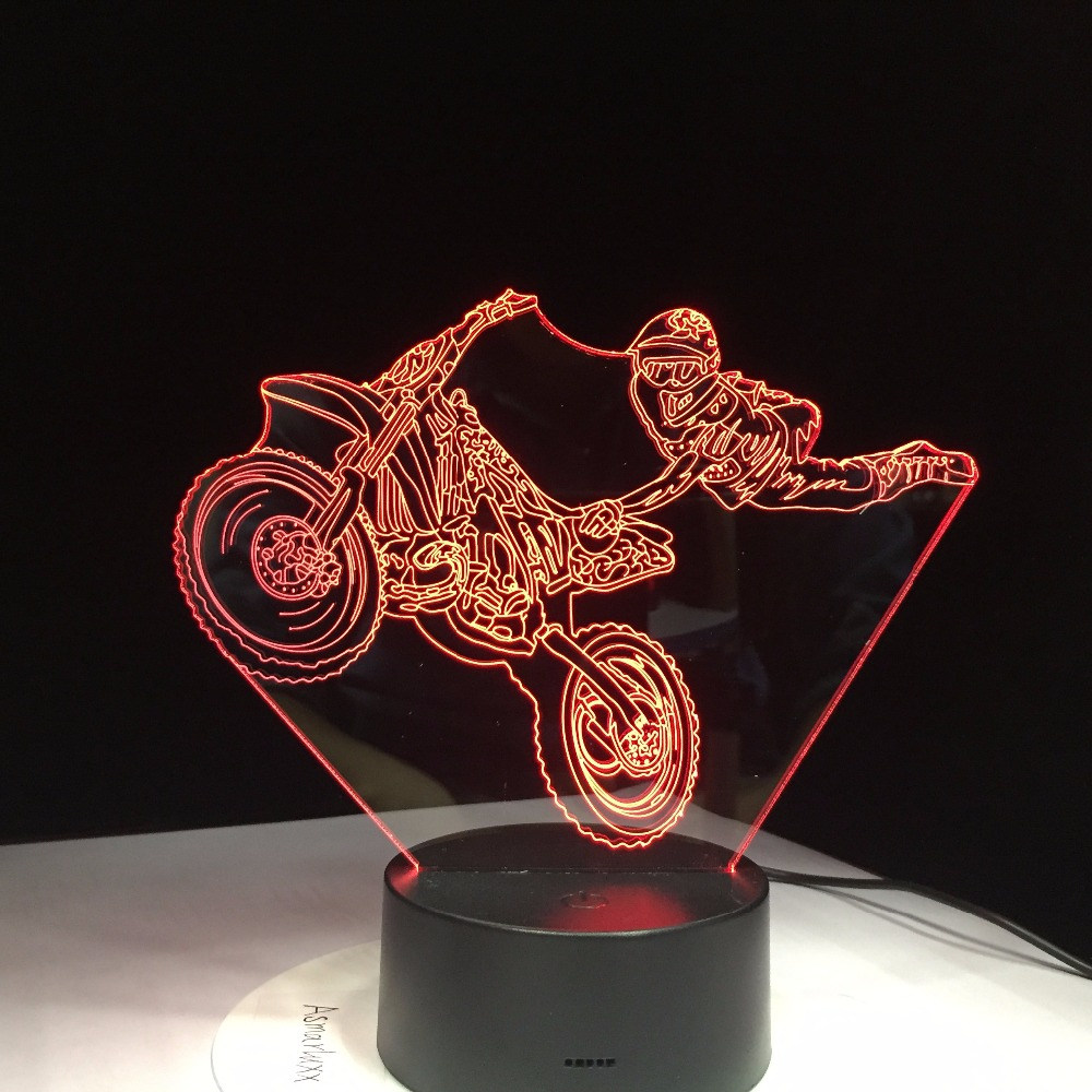 Motorcycle Stunts Touch Table lamp 7 Colors Changing Desk Lamp 3D Lamp Novelty Led Night Light LED Light Drop Ship New Year Gift