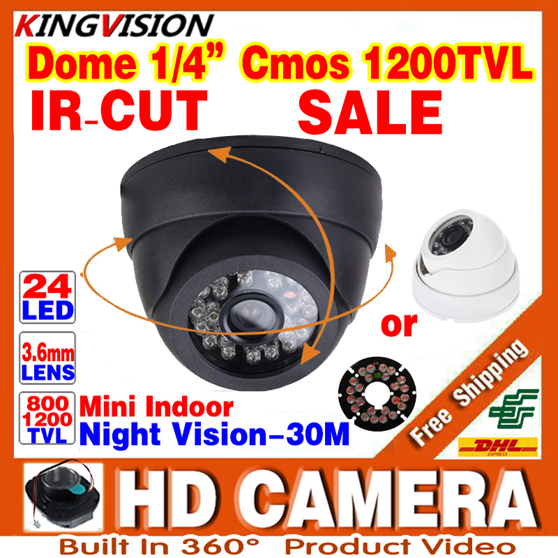 Free shipping HD 1/4cmos 800/1200TVL Indoor Dome Camera 24leds IRcut Security Surveillance Infrared Night Vision 30m Color Video