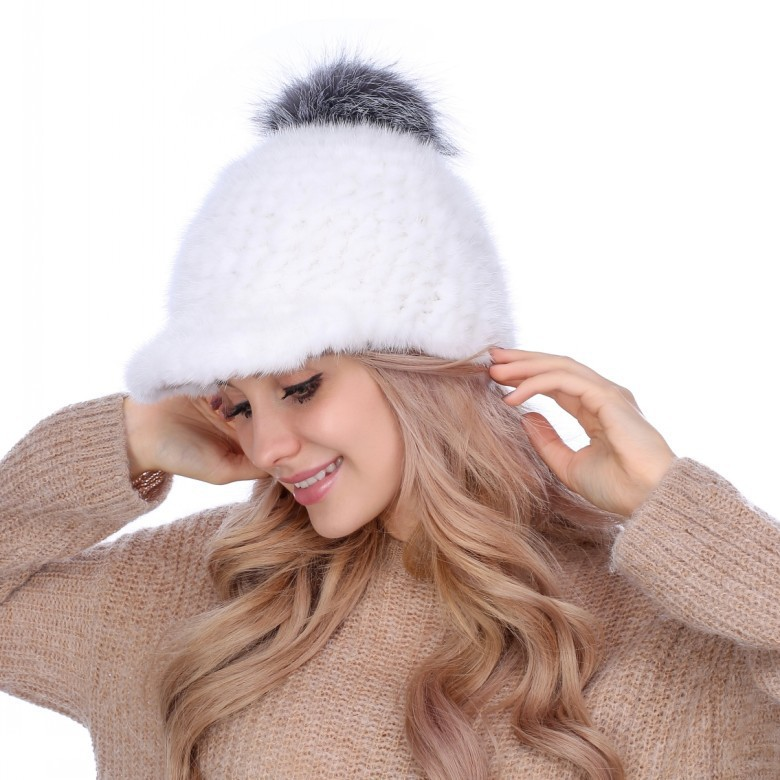 Mink knitted hat Leather Hat ladies casual hat warm mink peaked cap skullies beanies mink mink wool hat hat lady warm winter knight peaked cap cap peaked cap