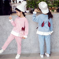 Girl Toddler Clothing Autumn Long Sleeve Rabbit Ears Sequins Sport Sweatshirt+Pant Tracksuit Children Clothes Set