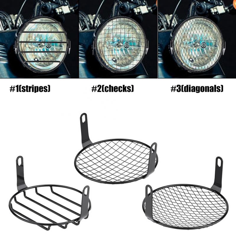 6.5 Motorcycle Side Mount Headlight Round Grill Cover Mask Led Headlights Grill Cover CNC For Cruiser Chopper Cafe Racer New