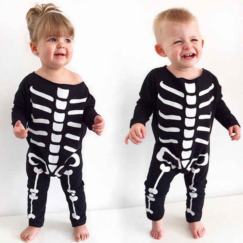 Новорожденных Для маленьких мальчиков девочек Комбинезоны для малышек с длинным рукавом Череп Комбинезон хлопок Осенняя одежда черный Цвет дети Обувь для мальчиков Обувь для девочек череп комбинезон 0-24 м
