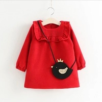 Hot Sale Autumn Cotton Kids Clothes Newborn Girls Indant Wool Dress Baby Clothing Baby Girls Dress