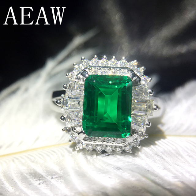 AEAW 4ct AAA Lab Created Colombian Emerald CCE Emgagement Ring Genuine Solid 14k White Gold with Lab Diamond Moissanite