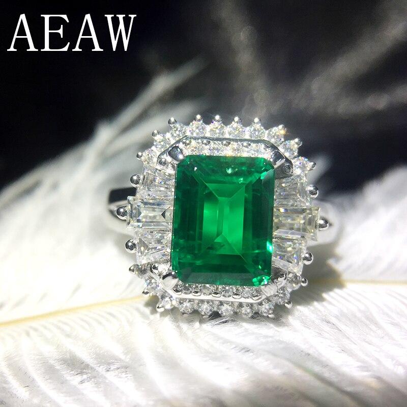 AEAW 4ct AAA Lab Creato Colombiano Smeraldo CCE Emgagement Anello Genuino Solido 14 k Oro Bianco con Lab Diamante di Moissanite