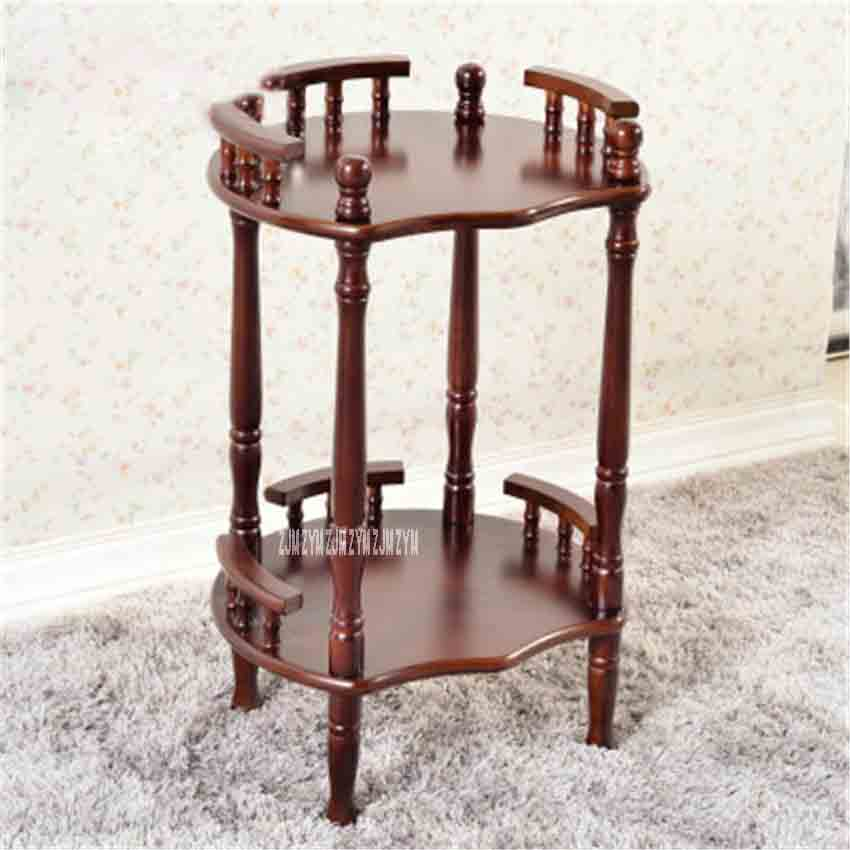 New Modern Chinese Solid Wood Coffee Table Multipurpose Shelf Flower-shaped Brown Double-layer Rack Side Corner Shelf Tea Rack