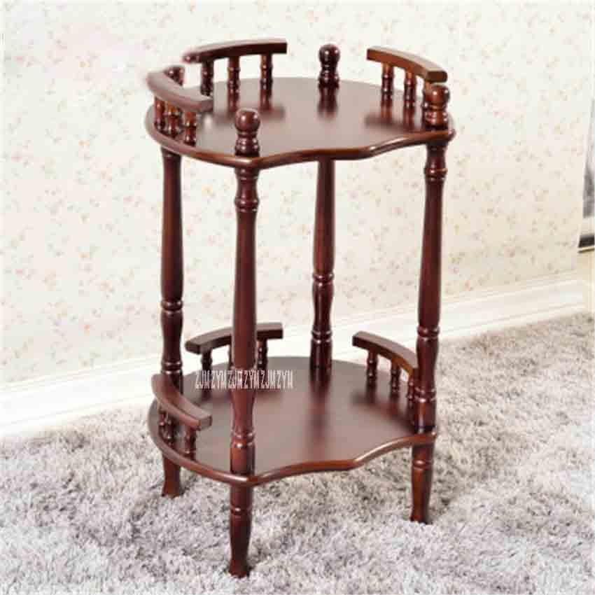 New Modern Chinese Solid Wood Coffee Table Multipurpose Shelf Flower-shaped Brown Double-layer Rack Side Corner Shelf Tea Rack