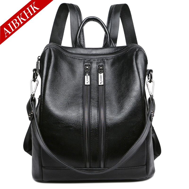 AIBKHK Fashion Backpack Leather Women Black Travel Backpacks Simple Bag female