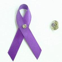 500pcs DHL free shipping  Leiomyosarcoma & Pancreatic Cancer Awareness Ribbon Bow Brooch pin a symbol of domestic violence