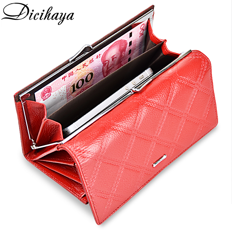 DICIHAYA Women Wallets Genuine Leather Wallet Female Purse Coin Bag Card Holders Ladies Long Wallet Fashion Womens Hasp Wallets women wallets long wallets fashion genuine leather wallets lady vintage clutch bag coin purse women cow lathersolid hasp new2017