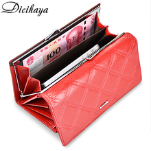 DICIHAYA Women Wallets Genuine Leather Wallet Female Purse Coin Bag Card Holders Ladies Long Wallet Fashion Womens Hasp Wallets