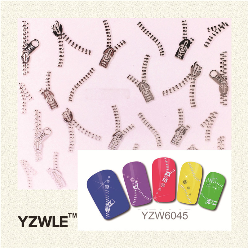 YZWLE 1 Sheets Fashion 3D DIY Silver Zipper Design Nail Art Sticker&Decal Manicure Nail Tools 1pcs fashion 1 sheets 3d design cute diy cartoon colorful diamonds tip nail art nail sticker nails decal manicure nail tools