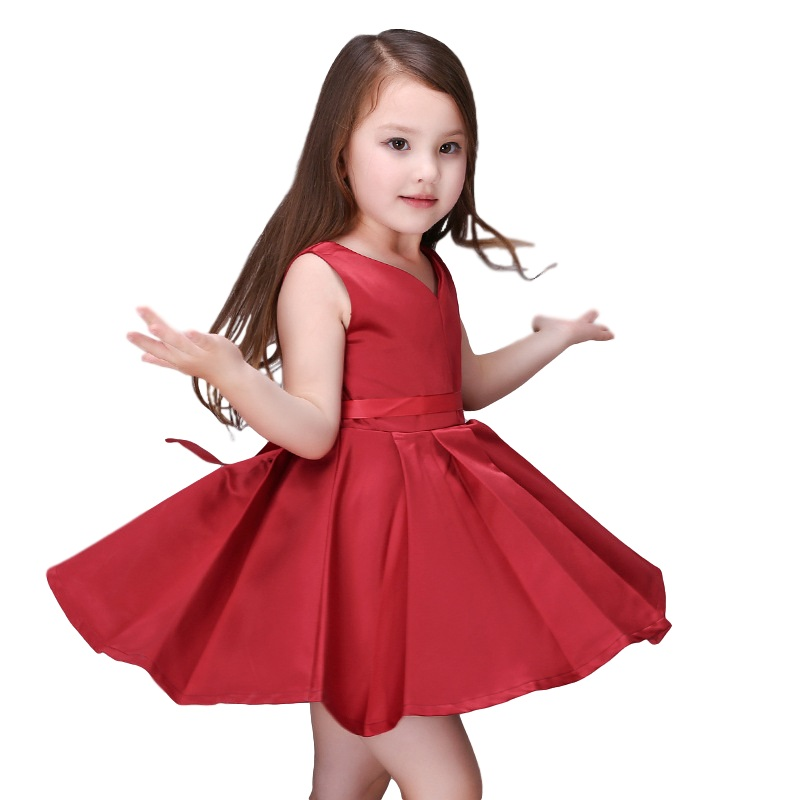Image 2 - Girls Wedding Dress 2017 Sleeveless Fashion Bridesmaid Child Baby Red Dress Girl  2  10 11 12 13 Years Olds Spodnica-in Dresses from Mother & Kids on AliExpress