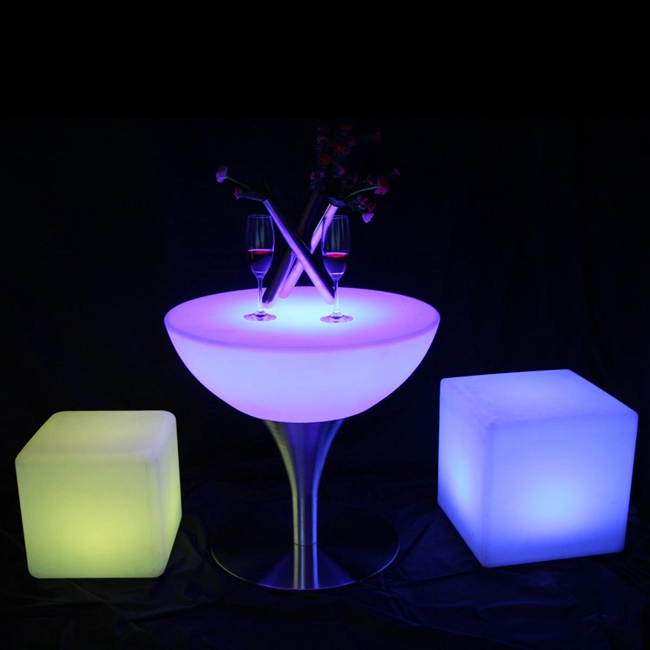 SK-LF18 (D60*H56cm)  Led Bar Furniture Illuminous Glowing Coffee Bar Table With 24 Keys Remote Control For Party Event 2pcs/Lot