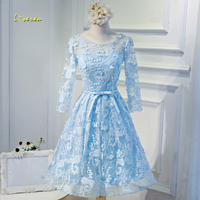 Loverxu Gorgeous Long Sleeve Lace Knee Length Homecoming Dresses 2107 Elegant Appliques Vintage Short Graduation Dress