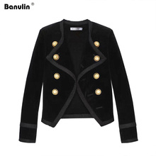 Banulin Runway Women Notched Collar Short Jacket Coat 2019 Autumn Winter Double Breasted Suit Female Velvet Black Slim Outwear