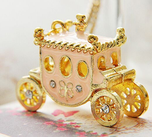 Wholesale Retro sweet light pink pumpkin car Necklace Free Shipping