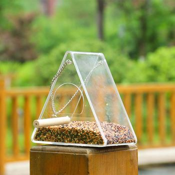 Bird Feeder Plastic Hanging Bird Food Container Transparent Outdoor Parrot Feeder Waterproof Bird Feeder Pet Supplies 4