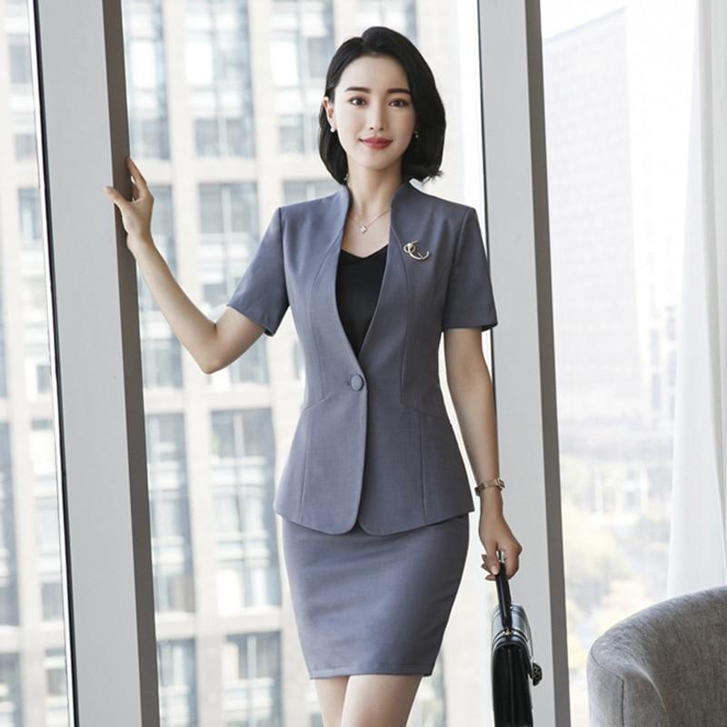 2018 New Fashion Overalls Female Interview 2pcs Business Attire Blazer+ Skirt Suits Sets Office Lady Button OL Work Uniform