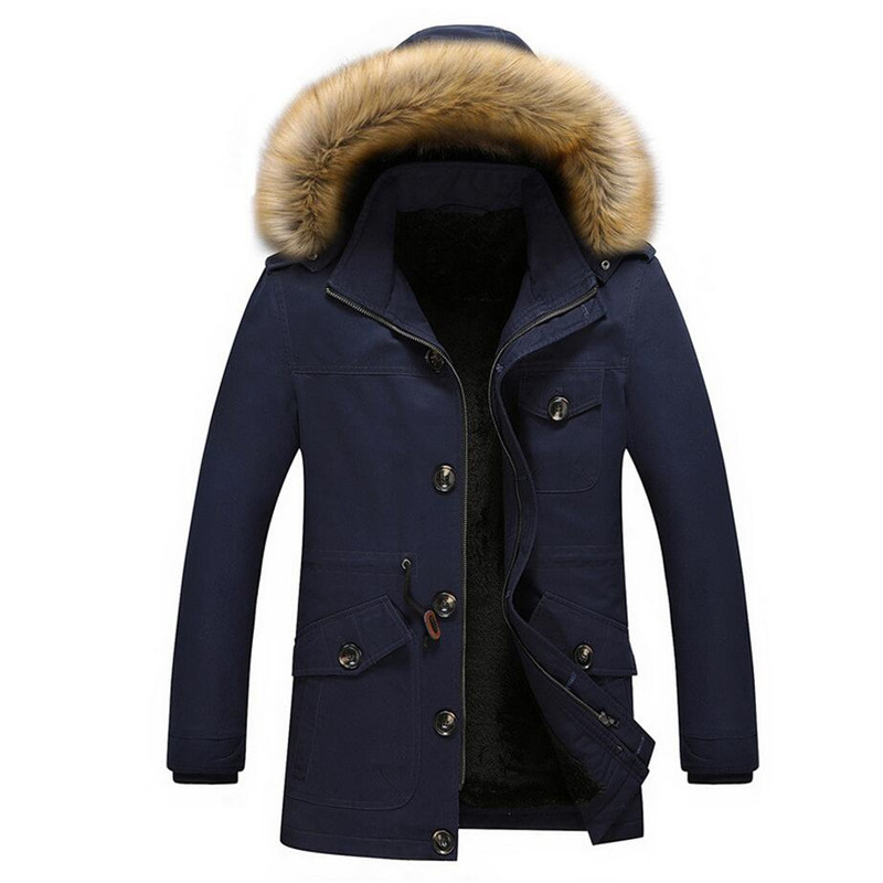 5XL Winter Thick Warm Jacket Men Casual Long Hooded Coat Fur Collar Parka Men Cotton-Padded Jacket Outwear Male Parkas Hombre winter jacket men thick warm hooded winter coat cotton padded jackets fashion young mens slim fit outwear parka hombre