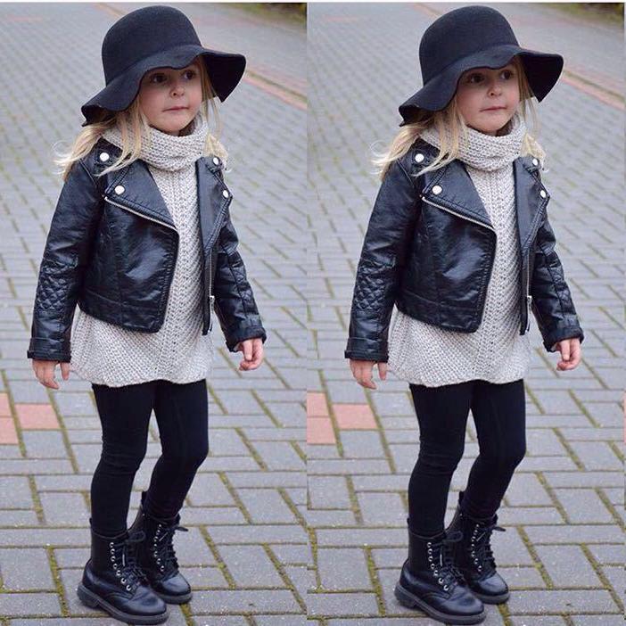 3fb2006ef Kid Girls Leather Jackets Black Girl s Black Faux Leather Warm Biker ...