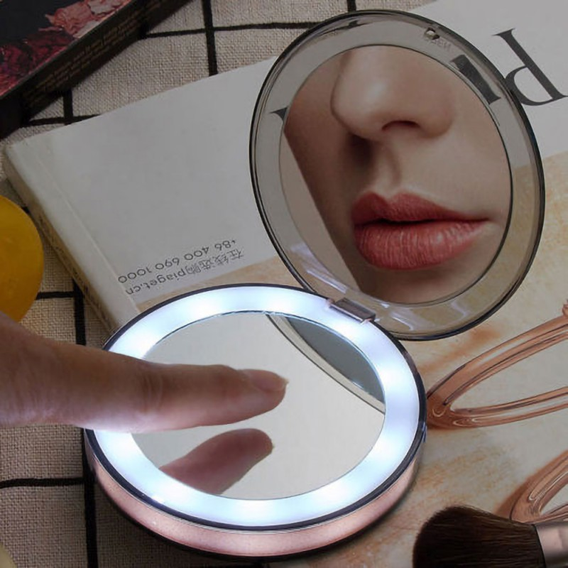 Portable 10 LED Lights Mini Makeup Mirror 3X Magnification Compact Travel Portable Induction Folding Adjustable Lighting Mirrors