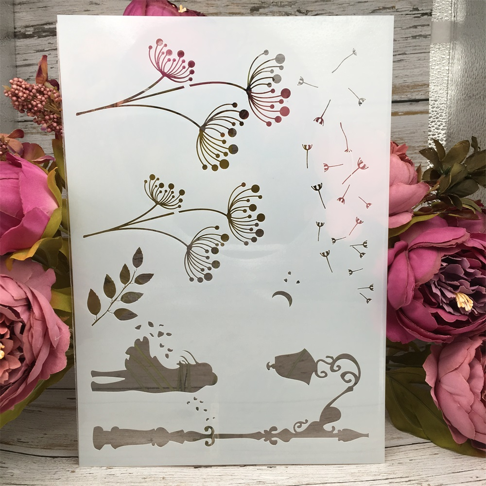 A4 29cm Dandelion DIY Layering Stencils Wall Painting Scrapbook Coloring Embossing Album Decorative Paper Card Template