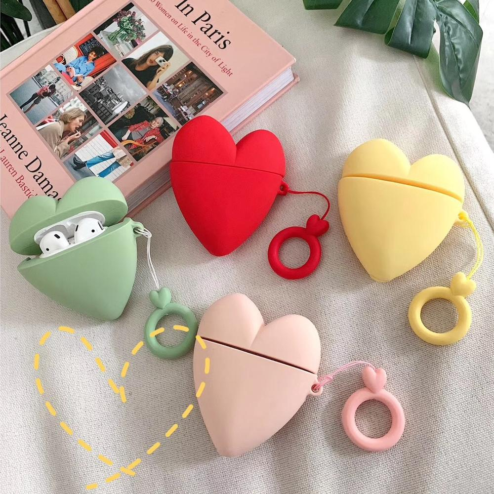 cute 3D Pure color love heart  Earphone Headset Accessories Silicone case For Apple Airpods 1/2 Wireless Bluetooth Headset bags