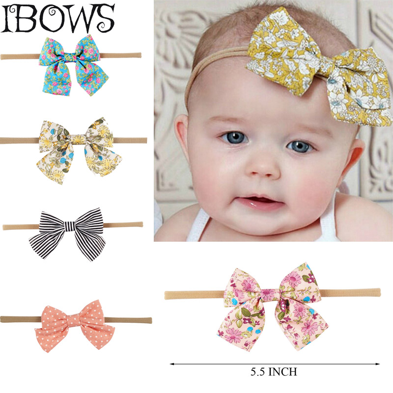 Lovely Kids Print Headband Floral Fabric Bows Striped Dots Elastic Nylon Hair Band For Baby Girls   Headwear   Hair Accessories
