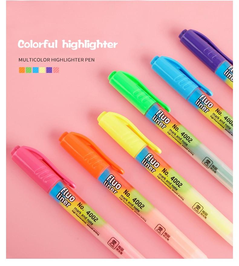 1PC//6PCs Fluorescent Pen 6 Different Colors Simple High Capacity Write Notes Pen