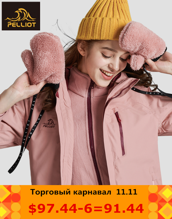 PELLIOT Outdoor Jackets Women's Tide Brand Jacket Three-in-one Thickening Fleece Two-piece Mountaineering Clothing Female jacket все цены