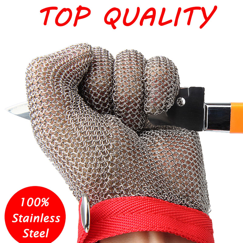 100% Stainless Steel Mesh Knife Cut Resistant Protective Gloves High Perfomance For Kitchen Butcher Working Safety Glove