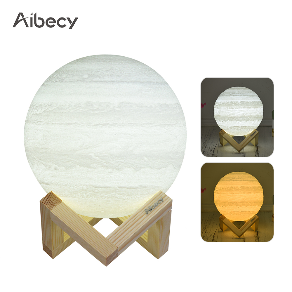 Aibecy 8cm/3.1in 3D Printed Jupiter Lamp LED Light 2 Colors Touch Control USB Recharge with Wooden Stand Festival Gift Home