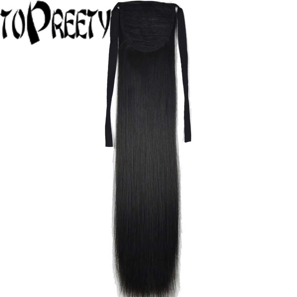 TOPREETY Heat Resistant B5 Synthetic 22 55cm 90gr Clip in Straight Ribbon Ponytail Extensions ...