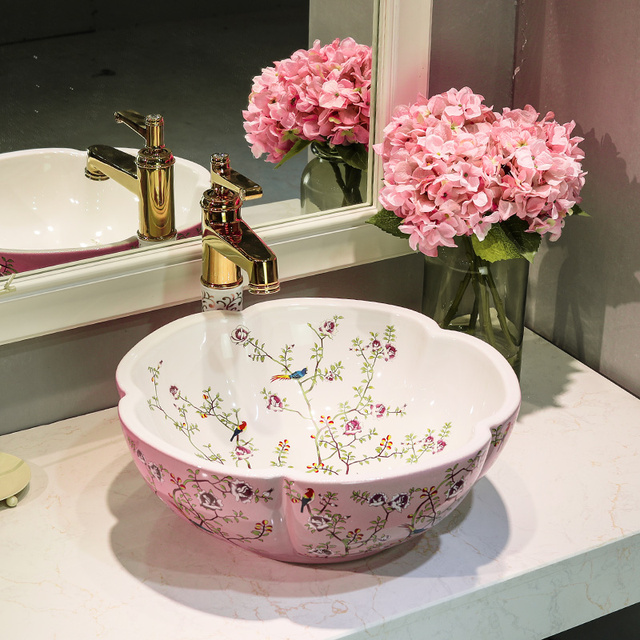China Flower And Bird Pink With White Painting Art Bathroom Vessel Sinks  Round Counter Top Wash