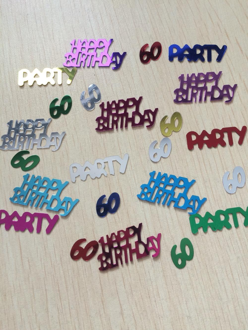 50g Female Women Mother Happy Aged 60th Birthday Party Decoration Scatter Number 60 Pink Silver Sparkle Foil Sprinkles Confetti In Banners