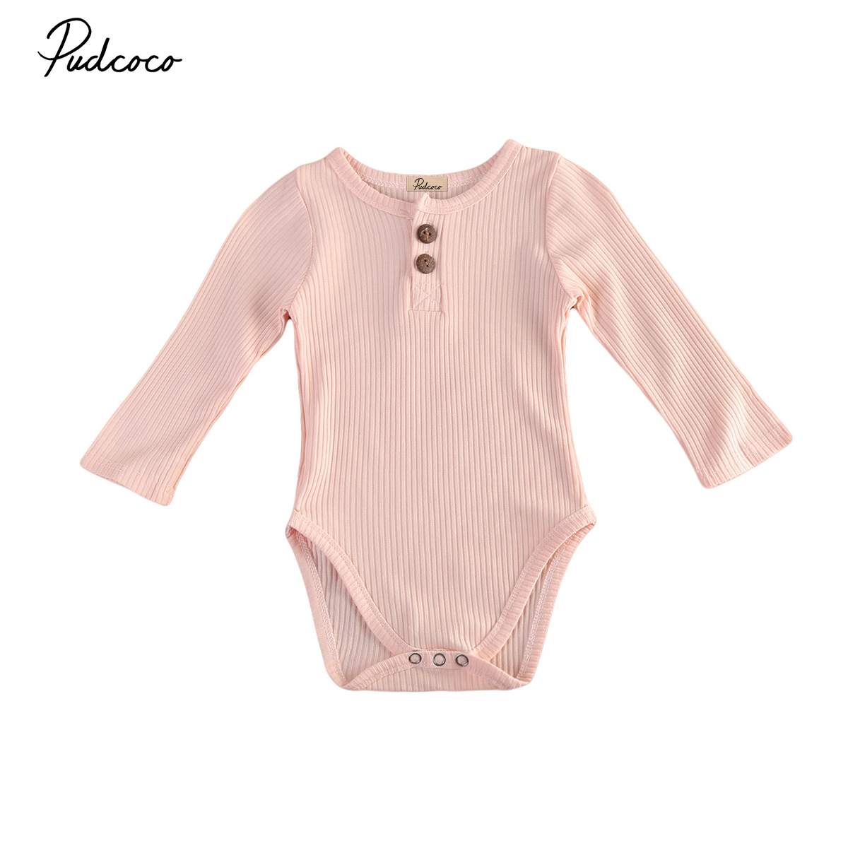 Long Sleeve Newborn Baby Boy Girls Bodysuit Jumpsuit Solid Pink Blue Autumn Sunsuit One-Pieces Outfits Clothes