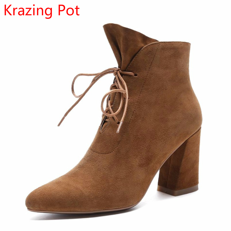 2018 Fashion Cow Suede Lace Up Handmade Streetwear Fashion Winter Boots High Heels Pointed Toe Women Elegant Ankle Boots L67 2018 fashion winter shoes cow suede high heels solid pointed toe zipper handmade warm european style sweet women ankle boots l26