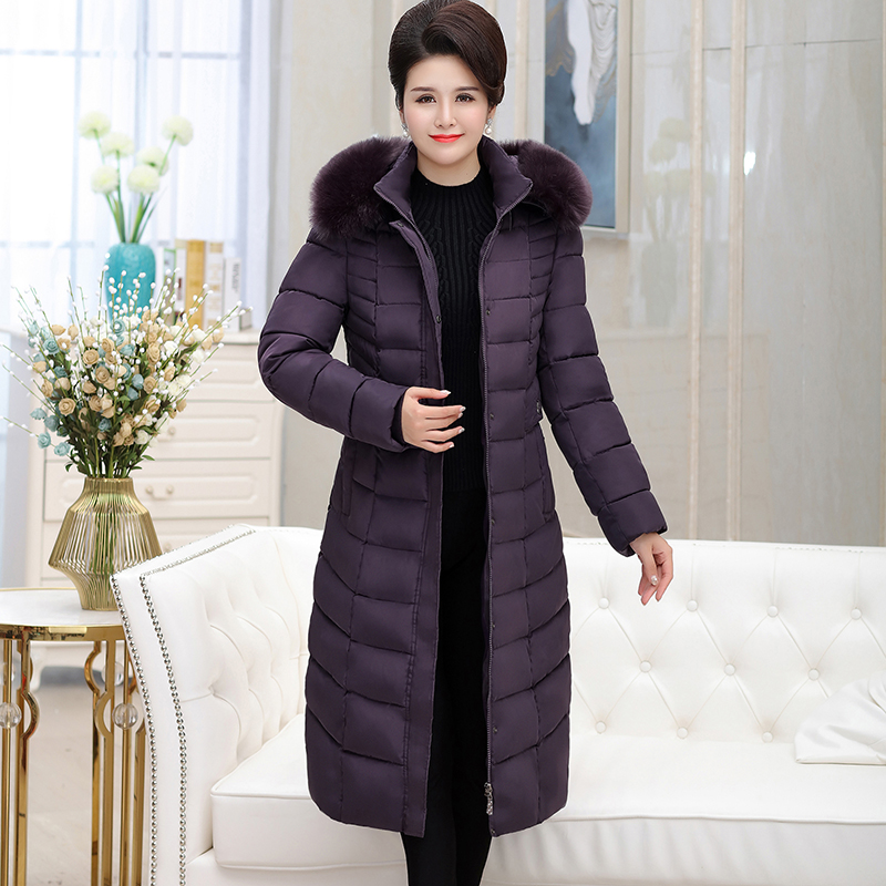 2019 Sale Rushed Fur Zippers Pockets Middle aged Women s Long sleeved Jacket Thick Coat To