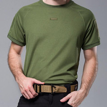 High high quality Men Summer Solid shade T-shirt Military Breathable Combat T Shirt Tactical Army SWAT Trainning Dry Camp Tees
