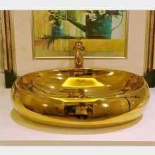 Большой Золотой Модный Фарфоровый Умывальник для ванной комнаты