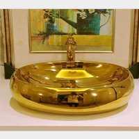 BIG BIG Gold whatis fashion porcelain bathroom art basin oval wash basin counter basin wash basin gold oval
