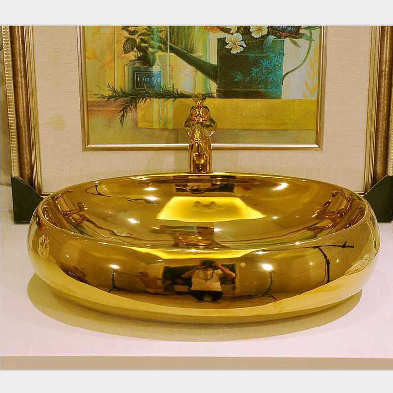 Gran Oro whatis moda porcelana lavabo del arte baño lavabo oval lavabo contrario-oval del oro