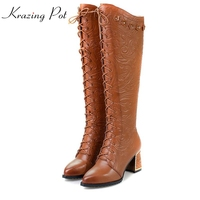 Winter Flowers Printing Cross Tied Thigh High Boots Poined Toe High Heel Women Shoes Over The